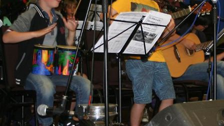 The Scourfield brothers, Finn, eight, and Rowan, 10, performing in the Seaside Stompers Ceilidh Band