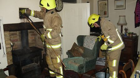 Firefighters were called out on Valentines Day to put out a chimney fire near Shefford.
