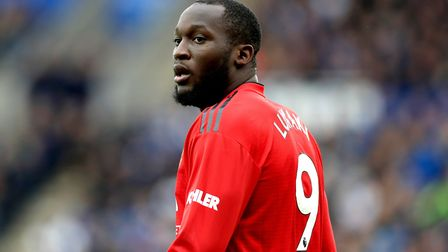 Romelu Lukaku in action for Manchester United during a Premier League match at Leicester City's King