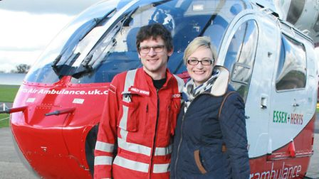 Nikki Duffy is reunited with Herts Air Ambulance pre-hospital care doctor Ainsley Heyworth who helpe
