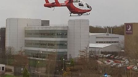 The Herts Air Ambulance flies off from Stevenage after Nikki Duffy collapsed at work. Picture Dayle