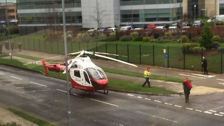 The Herts Air Ambulance has landed in Six Hills Way, Stevenage. Picture: James Randall