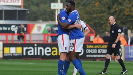 Carlisle celebrate at the end of their 1-0 win against Stevenage in October