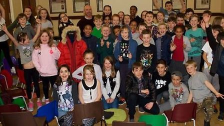Polor explorer Antony Jinman with members of St Hugh's Youth Group, Letchworth.