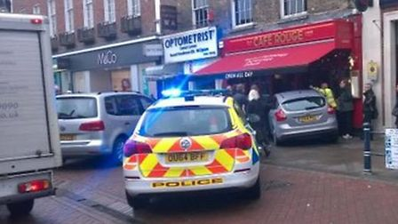 A car has crashed into the Café Rouge restaurant in Hitchin High Street this morning. Picture: Ros D