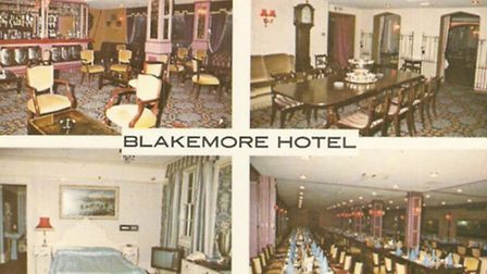 Postcard views of the interior of the old Blakemore Hotel in Little Wymondley