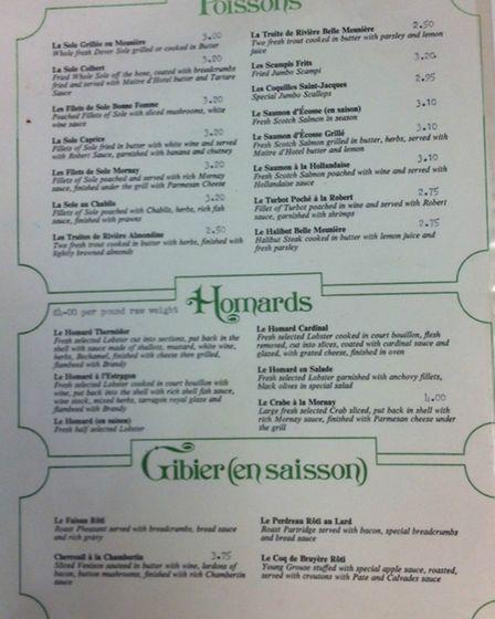 A sheet from the menu at the old Blakemore Hotel in Little Wymondley