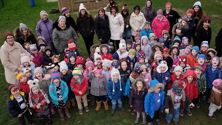 Children and staff at York Road Nursery celebrate National Woolly Hat Day