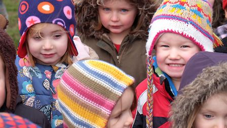Children at York Road Nursery celebrate National Woolly Hat Day