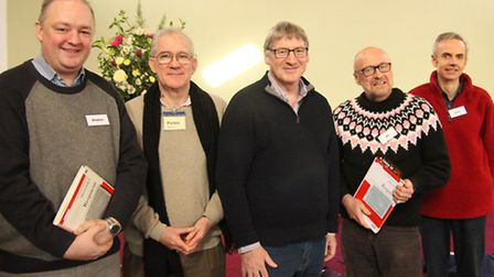 David Temple with some of the Sing Mozart! singers - left to right Stephen Chandler, Pete Murray, Da