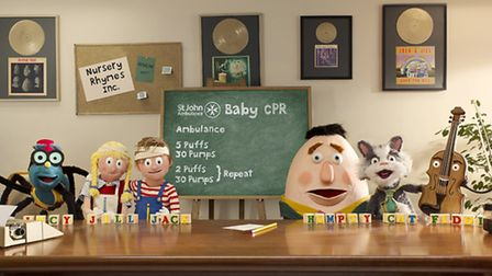 The Nursery Rhymes Inc characters with the baby CPR advice from St John Ambulance.