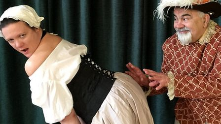 Settlement Players production of A Servant to Two Masters, February 2016. Smereldina and Pantaloon