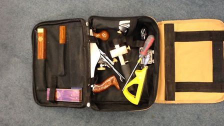 Police arrested two people after they recovered this carpentry kit from a property in Stevenage