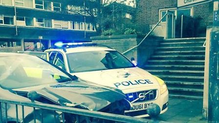 A police car was damaged while forcing a VW Golf to stop in Queen Street, Hitchin. Picture: Lee Hodg