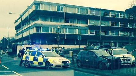 Police at the scene of the crash in Queen Street, Hitchin. Picture: Lee Hodgkins