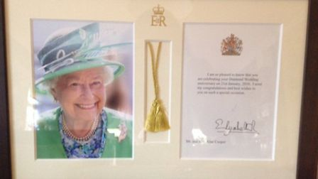 A card from the Queen for the Copper's wedding anniversary.