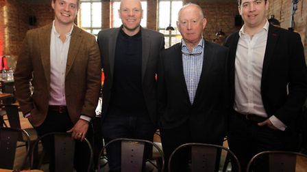 Chef Tom Kerridge at Hermitage Rd Bar and Restaurant in Hitchin with Howard, Cliff, and James Nye fr