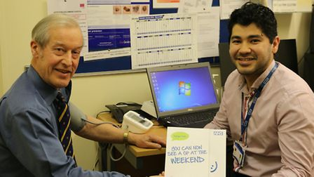 Sir Alan Haselhurst has his blood pressure checked by weekend GP, Dr Roddy Rodriguez.