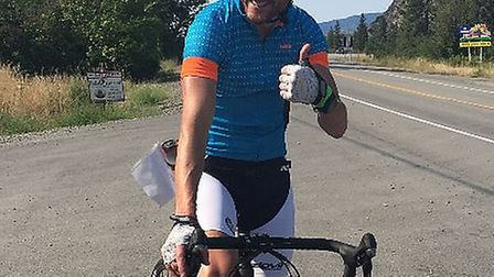 Thumbs up: Ross Welton is ready to attempt the Ultraman Challenge in Canada.