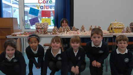 Parent Catherine Kelly with some of the pupils at Katherine Semar Infant School who made the gingerb