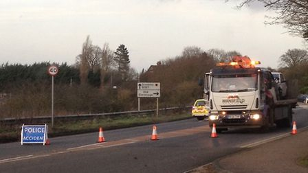 A recovery truck at the scene of the crash in Graveley Road on the outskirts of Stevenage. Picture: