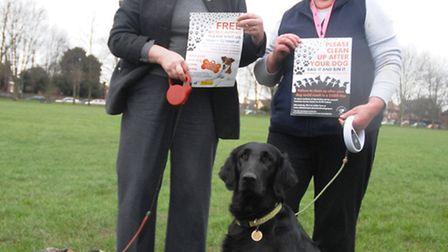 Councillor Susan Barker and dog Scrap with animal warden Sue Knight with dog Sonja at the launch.