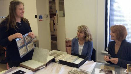 Garden City Collection curator Vicky Axwell with artefacts from the Women in Letchworth exhibition.