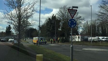 A road has been closed in Letchworth due to a gas leak. Credit: @MrCee6