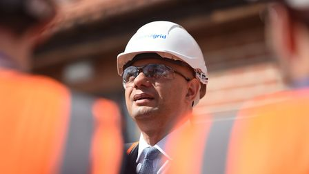 Chancellor Sajid Javid during a visit to the National Grid Training Centre near Newark, as the UK's
