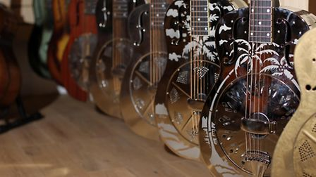A selection of guitars in Coda Music's new acoustic centre, Old Town, Stevenage