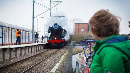 Joan Jellett took this picture of her five-year-old son Luca watching The Flying Scotsman pass throu