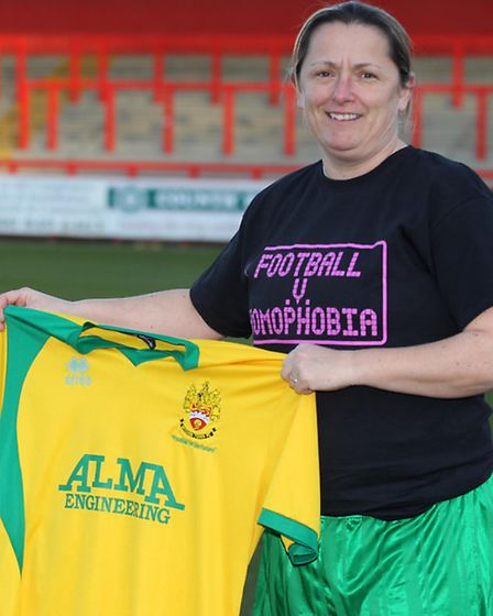Mel Harrington-Smith of Hitchin Town Ladies takes part in police football homophobia campaign launch