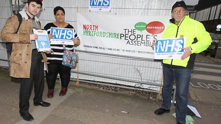 Josh Lovell, Jade Wood and Chris Nickolay of the People's Assembly protest outside the Lister Hospit