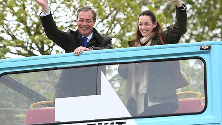Brexit Party leader Nigel Farage and Annunziata Rees-Mogg. Photograph: Joe Giddens/PA.