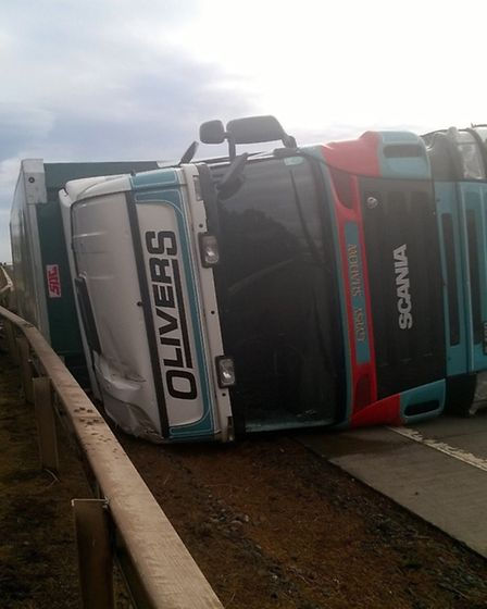 Once Martin Hamilton had made sure the driver was safe he took a picture of a lorry blown over in hi