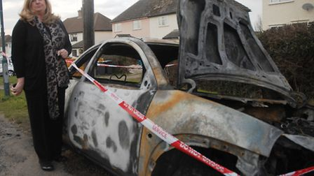 Jean Hockley with her Ford KA which was deliberately set alight in the early hours of Tuesday (March
