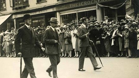 The Duke of York (closest to the crowd) strolling in Eastcheap during a visit to Letchworth in the 1