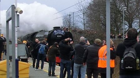 Commuters and trainspotters at Stevenage this morning to watch the Flying Scotsman pass through on i