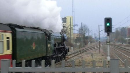 The Flying Scotsman leaves Stevenage this morning on its way to York. Picture: @Swiffyc via Twitter