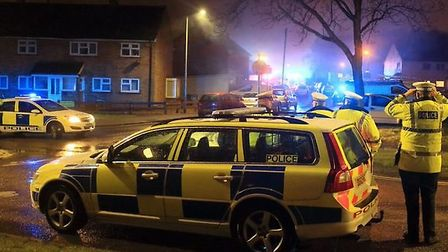 Emergency services on the scene at Cavell Walk in Stevenage following a house explosion last night.