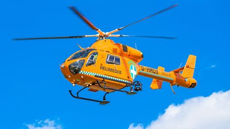 A Magpas Air Ambulance landed after a collision involving a cyclist and a 4x4 on the outskirts of As