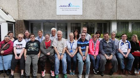 Jackie Nealon (centre) with members and volunteers.