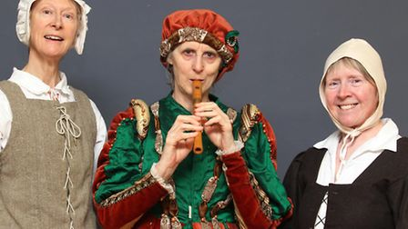 Fran Burrows, Linda Duckworth and Hilary Bushill dressed in Tudor costume for the museum re-opening