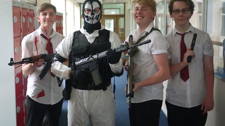 Louis Brooker, a 'terrorist', Finn Harrigan and Lewis G. Fraser during the filming of Comprehensive