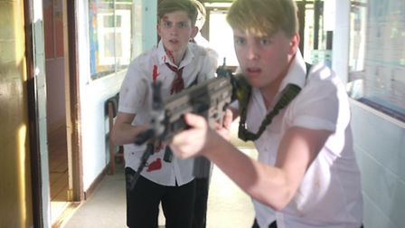 Louis Brooker, front, and Finn Harrigan (from Ickleford) during filming of Comprehensive at Hitchin'