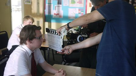 Lewis G. Fraser, left, during filming of Comprehensive at Hitchin's Priory School.