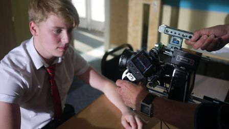 Louis Brooker during filming of Comprehensive at Hitchin's Priory School.