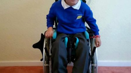 Cameron Oliver from Stevenage can't sit, stand or walk unaided, and was diagnosed with the spastic q