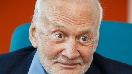 Buzz Aldrin chatting to pupils at the Woolenwick School in Stevenage