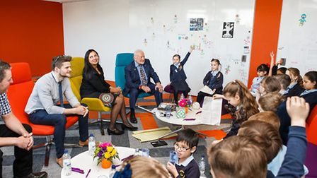 Buzz Aldrin spoke to 17 pupils who were chosen after a homework competition